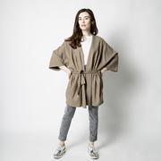 Kimono-Jacke aus Leinen in Taupe