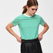 Gestreiftes T-Shirt in frischem Grün