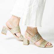 Hochwertige Leder-Sandale mit Glitter