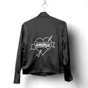 Handbestickte Blazer-Jacke in Schwarz