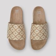 Bequeme Slide-Sandale in Beige