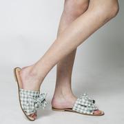 Slide-Sandalen mit Vichykaro