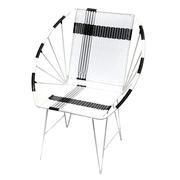 'Geflochtener-Stuhl' in Weiss-Schwarz