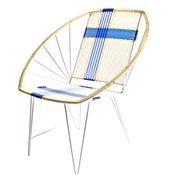 'Geflochtener-Stuhl' in Weiss, Blau mit Gold