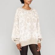 Heller Strick-Sweater mit Pfauenmuster
