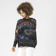 Strick-Sweater mit Pfauenprint in Schwarz