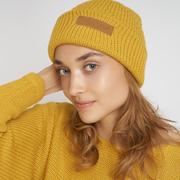 Nachhaltige Strickmütze in Gelb