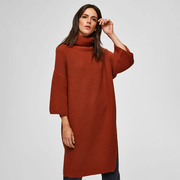 Warmer Strick-Dress mit Rippen