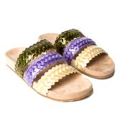 Slide-Sandale mit farbig geflochtenen Riemchen