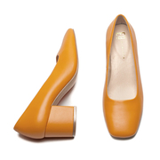 Squared-Toes-Pumps in Apricot