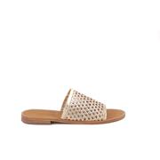 Goldene Slide-Sandale mit Flechtung