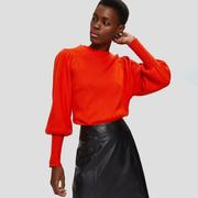 Femininer Feinstrick-Pullover in Orangerot