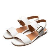 Flache Leder-Sandalen in Weiss