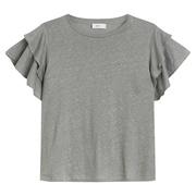 Leinen-Shirt mit Volants in Piniengrün
