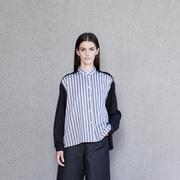Swiss Design: Bluse mit Streifen & Materialmix