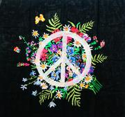 Kunstvolles 'Peace'-Glarner-Tüechli in Schwarz
