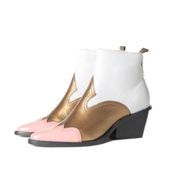 Statement-Booties in Weiss/Gold/Rosé