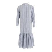 Langes Blusenkleid mit Streifen