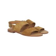 Flache Wildleder-Sandale in Camel