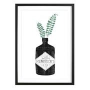 Hendricks Gin -Bild mit Holzrahmen / 50 X 70