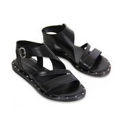Schwarze Riemen-Sandale aus Leder