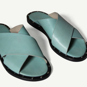 Leder-Slides in Mint