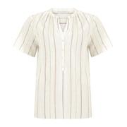 Tunika-Bluse mit Lurex-Streifen