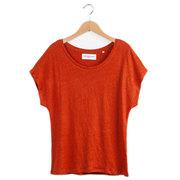 T-Shirt aus Leinenjersey in Rot & Blau