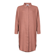 Blusenkleid aus reinem Leinen in Mahagony