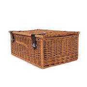 Picknick-Koffer mit Lederverschluss naturbraun