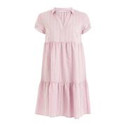 Luftiges Volant-Kleid in Rosé