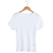 Nachhaltiges Feinripp-T-Shirt in Weiss / Schwarz