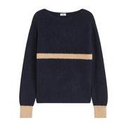 Leichter Alpaka-Sweater mit Kontrastdetails