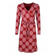 Kleid in Wickeloptik mit grossen Punkten