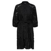 Schwarzes Kleid mit Spitzeneinsatz