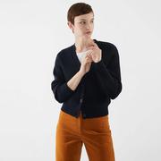 Merino-Cardigan in Marine oder Khaki