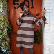 Gestreifter Sweater-Dress mit Kragen