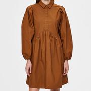 Weites Baumwoll-Blusenkleid mit Schulterfokus