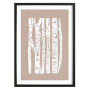 Holzdruck 'Woodcut Birches'