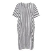 Entspanntes Baumwoll-Kleid mit Streifen