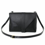 Handmade leather bag 'Enveloppe' in black