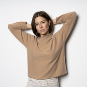 The perfect stand-up collar sweater in Dark Sand