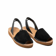 Sandale im Espadrille-Look in Schwarz