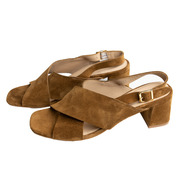 Sandal with block heel by 'Angulus' in mustard