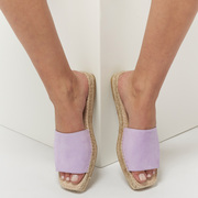 Slide-Espadrille 'Carré' in Hellblau und Lavendel