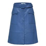 Einzelstücke: Weicher Leder-Jupe in Blau