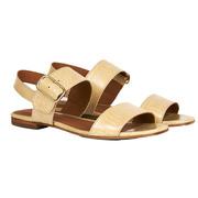 Beige Leder-Sandalen mit subtiler Prägung