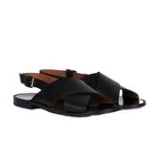 Schwarze Leder-Sandalen mit Prägung