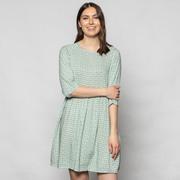 Kurzes Blumenprint-Kleid in Grün