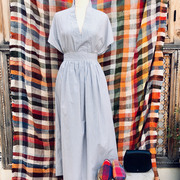 Bequemer Sommer-Jupe mit weiss-gelb-blauen Streifen